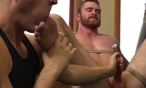 Bound plan b mask gets ass toyed during blowjob