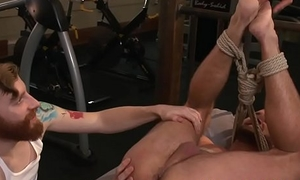 Restrained hunk edged and finger banged