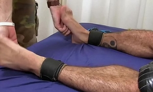 Hairy hunk restrained in the lead cock tickling by deviant