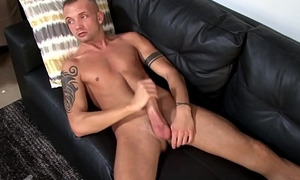 Athletic soldier masturbating and tugging