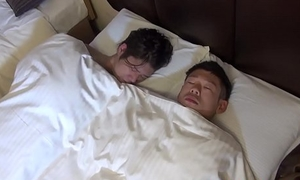 Ass fucked Japanese twink blows sleeping paramours cock