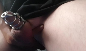 Cumming from playing with my butt hole, while locked in a chastity cage,  dribble cummies cum