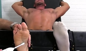 Restrained hunk feet scratched and body tickled helter-skelter