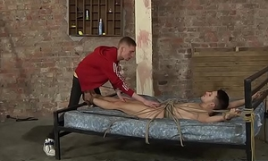 Unlucky sub restrained for rough dick and feet lover to play