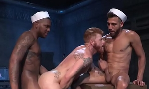 Hunky sailors butt banging in interracial threesome