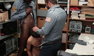 Thieving twink cums hard chips police interracial triad