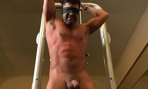 Tiedup sub almost flogged by gym hunk