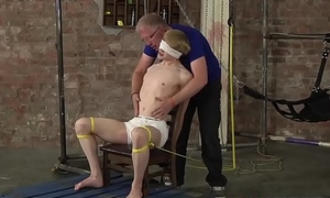 Roped up twink gets painful cum launching handjob by Master