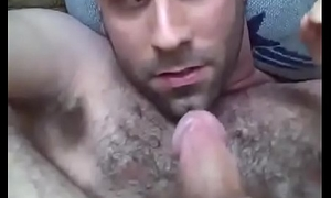 Hairy dude cums in his mouth