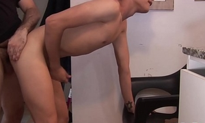 Twink sucks off prudish fat daddy and takes it from master b crush