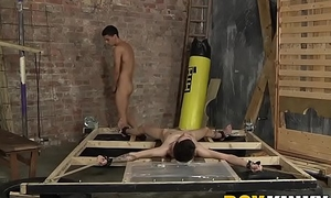 Roped down young man throat fucked roughly by kinky homo