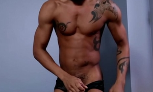 Black amateur stroking his bbc down closeup
