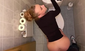 Public Agent Multiple orgasms as acquisitive pussy stretched in public toilet