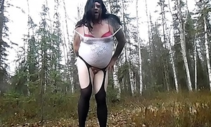 Compilation of a Chubby Crossdresser Exhibitionist Gender Himself in the Woods