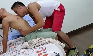 Deviating Asian twinks kiss each others feet and bare turtle-dove