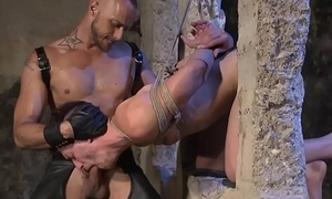 Dominating hunks spilling cum on bound studs