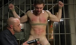 Police officer edging submissive prisoner