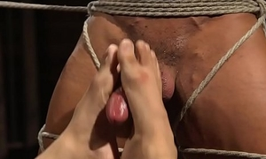 BDSM doms jacking stud till the edge