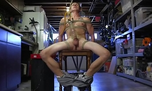 Bondage submissive stud tickled after tugging