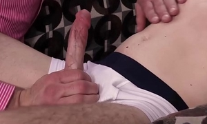 Daddy blindfolds cute stepson and but copulates him bareback