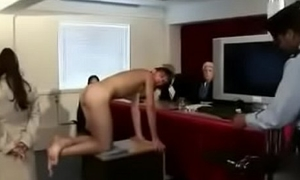 Strapon fucked in the courtroom.