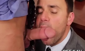 Horny twin stands for pecker while enjoying anal with his boss