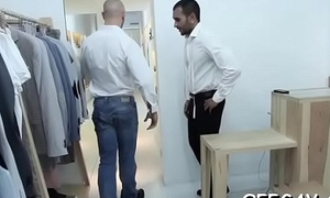 Office colleagues are having anal sex whilst alone in chum around with annoy lockers