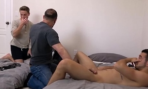 Jock Stepson and His Bear Stepdad Threesome With Twink Roommate
