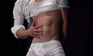 Alluring twink bangs doggystyle with muscular Mormon elder