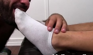 Feet worshiping and licking with hot daddy blot out and Asian stud