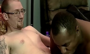 Bare white cock drilling tight chocolate stud in wet trio