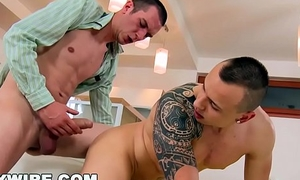 GAYWIRE - Euro Hunks Caleb Moreton and Tony Engage In Hardcore BAREBACK Gay Sex