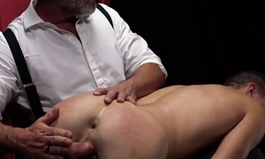 Hot and sexy twink loves being spanked before dildo play