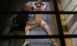 Bound hunk edged while by police stud