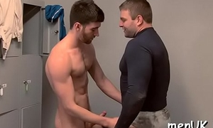 Nude hunks in scenes of uncommon butt slam during gay passion